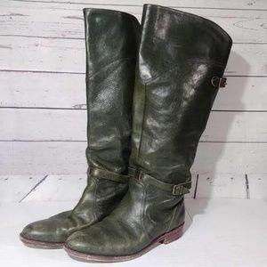 Frye Vintage Dark Green Leather Tall Boots  Sz 10M